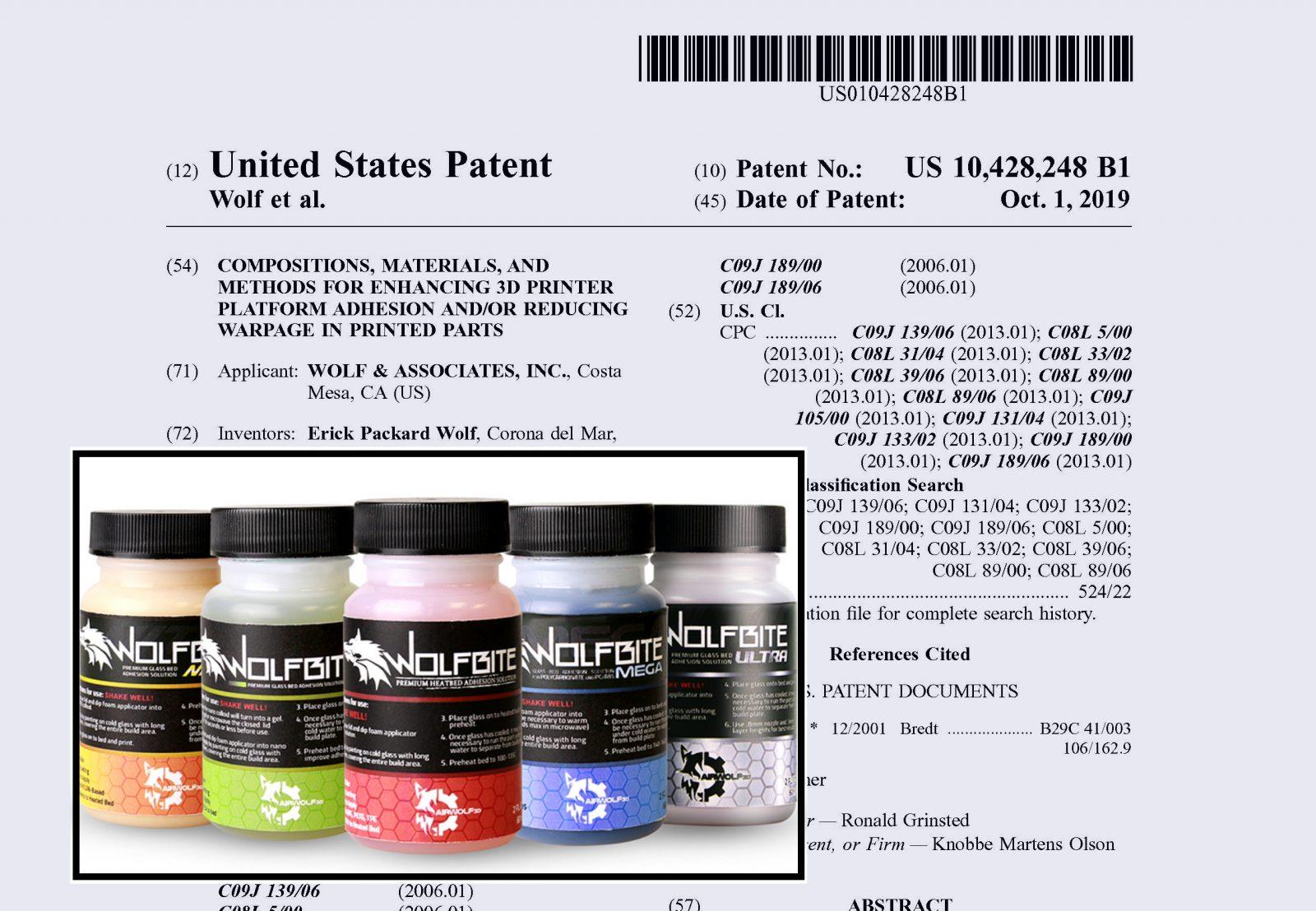 Airwolf 3D anuncia patente para sus adhesivos de impresión 3D Wolfbite
